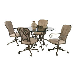 Pastel - 5-Piece Round Dining Table and Chairs Set - Magnolia - Set includes 1 round table and 4 caster chairs