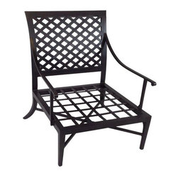 """Pre-owned Kreiss Montoro Patio Lounge Chair - A Kreiss """"Montoro"""" patio lounge chair. The woven metal frame is matte black and powder coated. This chair is in near perfect, new condition but does not include a cushion."""