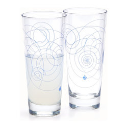 Quench Glassware - Whirl Glasses (pack of 2), Blue - Swirl, twirl, and curl your favorite drinks in Blue Whirl. This design looks different from every angle. Enjoy it alone or add a set of Green Twirls to build out your rhythmic collection.