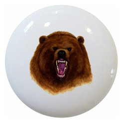 Carolina Hardware and Decor, LLC - Bear Head Ceramic Cabinet Drawer Knob - New 1 1/2 inch ceramic cabinet, drawer, or furniture knob with mounting hardware included. Also works great in a bathroom or on bi-fold closet doors (may require longer screws).  Item can be wiped clean with a soft damp cloth.  Great addition and nice finishing touch to any room!