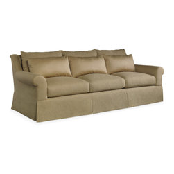 Baker Furniture - Dublin Sofa - A roll arm sofa with that roll continuing through the back. Three large and three small pillows graphically emphasize the crown of the seat cushions. A dressmaker skirt breaks with the cushions.