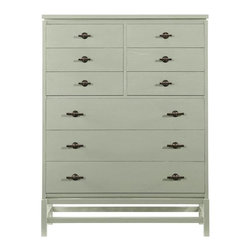 Stanley Furniture - Coastal Living Resort-Tranquility Isle Drawer Chest - Standing tall and proud, but with an airiness that disguises its substantial nature, the Tranquility Isle Drawer Chest is more than ready to take on your storage needs. Nine drawers arise from an open frame base that serves to elevate this design beyond the ordinary chest. Like a breath of fresh sea air, this chest isn't content to merely contain your belongings it wants to shine in its own right.