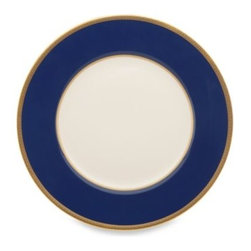 Lenox - Lenox Independence 10.75-Inch Dinner Plate - The wide blue band on this stately dinner plate is surrounded by 24 karat gold banding. The banding on the outer portion of the rim is adorned with intricately etched stars and stripes.