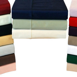 Bed Linens - Egyptian Cotton 300 Thread Count Solid Sheet Sets Cal-King Ivory - 300 Thread Count Solid Sheet Sets
