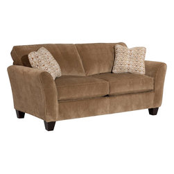 Broyhill - Broyhill Maddie Microfiber Mocha 74 Inch Apartment Sofa with Affinity Wood Finis - Broyhill - Sofas - 65172Q - About This Product: