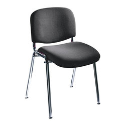 Safco - Visit Upholstered Stacking Chair in Black - Set of 2 - Visit chairs offer basic sturdy framing paired with plush upholstered seats and backs. In sets of two, these are popular additions in small reception areas or used to fill out a larger employee meeting space. Stackable and affordable, they'll stand up to commercial use. Set of 2. Stackable up to seven high. GREENGUARD certified. 250 lbs. weight capacity. 15 ga. thick steel frame. 100% acrylic upholstery. Glides made from nylon. Frame made from steel. Seat and back made from polyurethane. Chrome finish. No assembly required. Seat Size: 18 in. W x 15.5 in. D. Back Size: 18 in. W x 12.5 in. H. Seat Height: 18 in.. Overall: 22 in. W x 23.5 in. D x 31.5 in. H (12 lbs.)It's the perfect seat for any Visitor! Visit stack chairs are great for any place that needs extra seating. For all your Visitors in your reception, waiting, conference or training rooms it is the perfect blend of function and comfort. Add Visit to any office for a quick meeting or any meeting space that demands another seat! Or even have it available in the mail room, server room or supply room - you never know when a seat is needed!