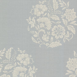 Decorline - Platinum (Decorline) Floral Motif Wallpaper - Go floral in a sophisticated way, with this vintage-inspired gray and silver pattern. The botanical beauty of this wallpaper will elevate your room to a whole new degree of style.