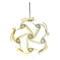 Akari Lanterns - Swirl Hanging Pendant Lamp, White, Small - Add a beautiful soft glow to any room, patio, or outdoor area with this unique hanging pendant lamp from Akari Lanterns.  This Swirl Lamp measures 12 inches in diameter and is perfect for any room.  This beautiful hanging light resembles a Chinese paper lantern and will improve the ambiance of any setting while creating a unique focal point.  Our patented design is offered in many styles and sizes.  Included is everything you need for easy installation:  12ft cord w/switch, CFL bulb, and heavy duty mounting staples so that you can hang this lamp from the ceiling, tree branch or overhead framing.  While these normally ship with a white cord, we can provide you with a black cord if you plan to install these outdoors or in a nightclub or restaurant.  Just let us know.  All lamps come with a 30 day money-back guarantee.