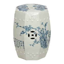 Emissary - Asian Garden Stool - This blue and white Asian stool has a hand-painted pattern depicting four seasons.��_ Made with ceramic and hand-glazed.
