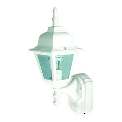 Heath Zenith - Heath Zenith SL-4191-WH-A 1 Light 180 Degree Motion Activated Country Cottage De - Heath Zenith SL-4191-WH-A 1 Light 180 Degree Motion Activated Country Cottage Decorative Security Wall SconceOffering classic styling with modern technology, the Heath Zenith SL-4191-WH features 180 degree motion detection up to 30 foot away with clear beveled glass and full metal construction with a weather resistant finish. Uses one 100 watt max medium base incandescent bulb (not included). Features include DualBrite two-level lighting for ambient lighting that kicks up to full brightness when motion is detected.Heath Zenith SL-4191-WH-A Features: