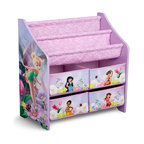 Adarn Inc - Versatile Little Girl Kids Fairies Fabric Book Rack Toy Organizer Removable Bins - The Disney Fairies Book and Toy Organizer is the perfect way to keep your little one's books and toys neatly organized in style. It's perfectly sized so your little one can easily reach her toys, art supplies, books and more. Features 2 tiers for displaying her favorite story time books and four medium sized pull out fabric bins. The whimsical Fairies design and soft purple color palette makes it a must have for the little princess in your life. Teaches the importance of clean-up and organization at a young age and adds an element of fun. Some assembly required. Makes a great gift!