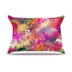 """Kess InHouse - Danny Ivan """"Splash"""" Rainbow Abstract Pillow Case, Standard (30"""" x 20"""") - This pillowcase, is just as bunny soft as the Kess InHouse duvet. It's made of microfiber velvety fleece. This machine washable fleece pillow case is the perfect accent to any duvet. Be your Bed's Curator."""