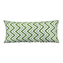 "LaCozi - ""Chevron"" Green Body Pillow Cover - Some body! This 100 percent cotton cover in a zingy zigzag print just made your favorite 20-by-54-inch pillow even more fun to hug."
