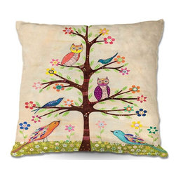 DiaNoche Designs - Pillow Woven Poplin - Sascalias Owl Bird Tree 2 - Toss this decorative pillow on any bed, sofa or chair, and add personality to your chic and stylish decor. Lay your head against your new art and relax! Made of woven Poly-Poplin.  Includes a cushy supportive pillow insert, zipped inside. Dye Sublimation printing adheres the ink to the material for long life and durability. Double Sided Print, Machine Washable, Product may vary slightly from image.