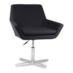 Arden Faux Leather Chair - The 1950's inspired Arden Black Faux Leather Chair combines great comfort with fantastic retro styling. The Arden seat height can be adjusted by the pneumatic adjustor on the swivel base, this chair would never look out of place around a dining table, in the office or in a conference room. The chair is upholstered in high quality faux leather and includes a chrome effect base. The Arden Chair, a blend 1950's inspiration and modern day ergonomics.