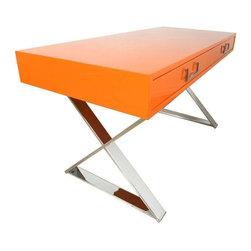 Milo Baughman - Pre-owned Milo Baughman Campaign Desk in Orange - Beautiful Milo Writing Desk in unique Orange lacquer and chrome. Complete restoration, close to mint condition. Swoon!