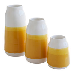 Robert Siegel Studio - Milk Vase Sets, Golden Yellow - Handmade Porcelain Milk Vases. Made in limited editions and color combinations seasonally, these vases were double dipped by hand, creating their unique finish.