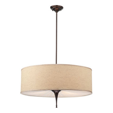 Valencia Chandelier by Thomas Lighting - Valencia chandelier features a fabric shade with a gathered fabric diffuser and sienna bronze finish. Available in chandelier, pendant and ceiling versions. Overall height is 65 inches. 28 inchd diameter x 14.25 inch height.