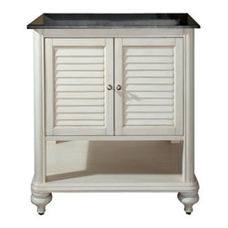 Avanity Corporation - Tropica - 30 in. Antique White Vanity - Vanity only in Antique White finish. Birch solid wood and veneer. Distressed wood feature. Brushed nickel finished hardware. Soft-close slatted doors and open shelf. Adjustable height levelers. Top not included. 30 in. W x 21 in. D x 34 in. H