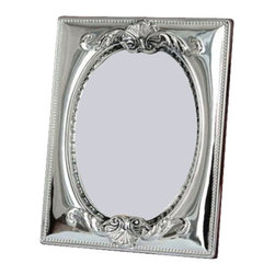 """Silverstar International - 5""""x7"""" Amelie II Sterling Picture Frame - Sophisticated elegance with a beautiful handcrafted embossed repouss design, our Amelie bi- laminated sterling silver picture frame features an oval inner border and a slide tab closure for easy access to your wedding photographs. This Silverstar International 925 Sterling Silver picture frame is meticulously manufactured to an aluminum base for strength & attached to a veneer mahogany wooden back and features a tarnish resistant surface for easy cleaning & glare resistant glass. Create a cherished keepsake and custom engrave that special message for the one you love."""