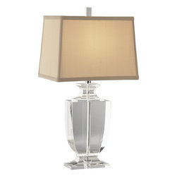 Robert Abbey - Artemis Accent Lamp - Add a crystal creation to your decor for unique style and illumination. This table lamp has a clear or smoked glass body and a rectangle shade in your choice of colors to lend classic elegance to your favorite contemporary setting.