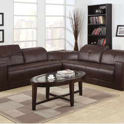 Acme Modern Brown Leather Sectional Sofa Couch Bulit-In Dock Speaker - The Odell contemporary sectional sofa collection is built with brown bonded leather, adjustable head rest, and built in speaker and dock for greater entertainment options.