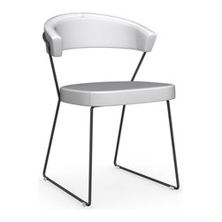 Calligaris - New York Chair, Black Nickel Frame, Optic White, Set of 2 - Add some futuristic flair to your space with this ultramodern vision in bright white Italian leather and black nickel. Coming in a set of two, they're sure to set any decor into cool orbit.
