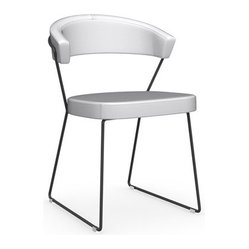New York Chair, Black Nickel Frame, Set of 2, Optic White