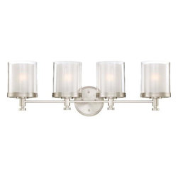 """Nuvo Lighting - Nuvo Lighting 60/4644 Decker Four Light Bathroom Fixture - Nuvo Lighting 60/4644 Decker Four Light Bathroom Fixture with Clear and Frosted Glass, in Brushed Nickel FinishThe Decker collection is a well thought -out assembly of finely crafted """"machined"""" style parts. Decker's double glass shade design creates a unique glow which adds depth and mood to this family. Decker's industrial style is perfectly suited to work well with many design elements used today. Available in Sudbury Bronze with Clear and Cream glass shades or Brushed Nickel with Clear and Frosted glass shades.Nuvo Lighting 60/4644 Features:"""