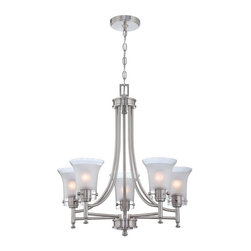 Lite Source - Ceiling Lamp in Polished Steel - Bulbs not included. Requires five 60 watt incandescent A type bulb. UL and CUL listed. Socket type: E27. Glass shade. Shade top: 5.75 in. Dia.. Shade bottom: 3.25 in. Dia.. Shade height: 6.25 in.. Overall: 25 in. Dia. x 147 in. H (19.2 lbs.). Assembly Instruction
