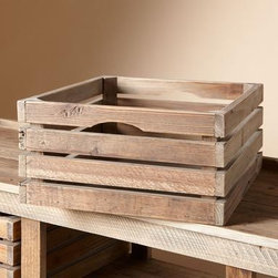 Farmhouse Sideboard Crates - Buy several of these, stack them on their sides, and not only do you have a unique look, you have the easiest shelving in the world to move when you upgrade from that small apartment to a larger one.