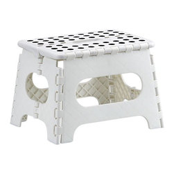 Folding White Step Stool - Sturdy when you need it, this heavy-duty step stool folds flat for out-of-sight storage (see additional photos).