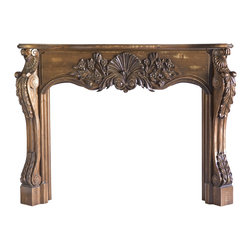 Shell with Country Flowers Full Surround Mantel MAN9021LW - Shown Shabby Chic Golden Brown Stain. Available unfinished - 2886.83