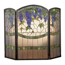 Meyda Tiffany - Meyda Tiffany Wisteria Fireplace Screen X-53272 - From the Wisteria Collection, this Meyda Tiffany fireplace screen adds elegance and beauty to any great room, master bedroom or otherwise. The textured clear glass shines warmly with a lit fire, which also highlights the green accenting and the vivid purple wisteria flowers that adorn the top of this design.