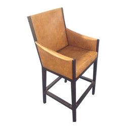 janus court designs - Ethan Wrought iron Bar stool - Ethan wrought iron bar stool with saddle back leather is perfect for your indoor or outdoor needs.