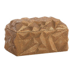 Baroque Antiqued Gold Leaf Lidded Box - The Baroque Antique Gold Leaf Lidded Box intriguingly fuses the facets and furrows of transitional geometry with the traditional luxury of old-gold hues and even beaded texture. An art piece in itself that is monumental despite a relatively modest size, this box is a perfect addition to a mantelpiece in a room where styles are recreated and rethought with verve. A black felt interior keeps the treasures within safe from scratches or knocks.