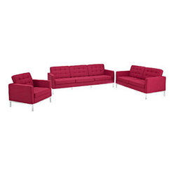 """LexMod - Florence Style Loft Armchair Loveseat and Sofa Set of 3 in Red Tweed - Loft Armchair Loveseat and Sofa Set of 3 in Red Tweed - The mid-20th century was a time when hopes were at their highest. Technological developments were bustling forward, and the new world was just barely visible in the distance. But this time also presented a dilemma of sorts. The test of this forthcoming era was to be whether industry would foster comfort or stifle it. What makes the Loft series so complete? At first glance, it displays a pleasant linear design with an external tubular stainless steel frame. The back and seat are tufted and buttoned to enhance the overall richness of the piece. But can these aspects be said to define the totality of a classic? The answer then must be something profound. A thought that serves as representative of that era, while matching the sentiments of our present age. Our suggestion is that the Loft series conveys the potential of progress. From amidst the steel base, a comfortable seating experience is attained. From out of the exponential surge of technological growth, comes peace and solace. Perhaps this is why Loft is the sofa series of choice for so many Fortune 500 companies. Aside from its iconic feel, the set is symbolic of a time when technological innovation could do no wrong. When faster was seen only as something positive. The Loft series is the preferred choice for reception areas, living rooms, hotels, resorts, restaurants and other lounge spaces. Set Includes: One - Loft Armchair One - Loft Loveseat One - Loft Sofa Rich Wool Upholstery, Tufted Seat and Back with Buttons, Tubular Stainless Steel Frame, Foot caps to prevent scratching Overall Product Dimensions: 94""""L x 152.5""""W x 31""""H Loveseat Dimensions: 31""""L x 63""""W x 31""""H Sofa Dimensions: 30.5""""L x 90.5""""W x 32""""H Armchair Dimensions: 31""""L x 31""""W x 31""""H Seat Dimensions: 21""""L x 16""""H Armrest Height: 23""""H - Mid Century Modern Furniture."""