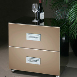 Cathy Mirrored File Cabinet - Bronze Mirror Facets Accented By Chrome Ball Feet And Drawer Pulls Over White Mirror Plates On Two Drawers That Are Sized And Equipped For File Storage, the Cathy File Cabinet exhudes a confident, glamorous look. At home in the office or bedroom. Cathy Vanity Desk possess a versatility which allows them to slip as comfortably into a traditional room as a modern loft or sunroom.