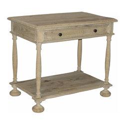 Washed Oak Nightstand - Traditional, charming shapes build up the the Reclaimed Washed Oak Nightstand, a handmade wooden furniture piece with a visible grain that lets the touch of the craftsman's skill show.  It stands on wide bun feet, which provide a quirky touch that brings attention to the undershelf of the nightstand, while fusing the horizontality of the single full-width drawer under the top with the loftier air of the four slim spindle legs at the corners.