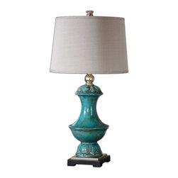 Uttermost - Uttermost 26347 Lynden Aged Blue Lamp - Uttermost 26347 Lynden Aged Blue Lamp