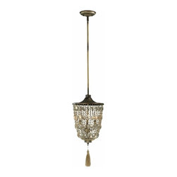 Vintage French Beaded Pendant Light with Tassel - *Adriana Pendant
