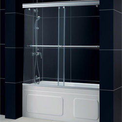 "BathAuthority LLC dba Dreamline - Charisma Frameless Bypass Sliding Tub Door, 56 - 60"" W x 58"" H, Chrome - The Charisma tub door has a unique no wall profile design, combining the beauty of frameless glass with the convenience the sliding bypass operation. Most bypass shower doors require significant aluminum framing. Lose the aluminum and discover the sleek look of a frameless sliding bypass glass design."