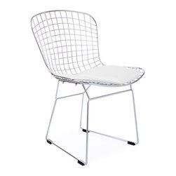 Vertigo Interiors - Bertoia Style Wire Side Chair, White Seat Cushion - This chair is inspired by Harry Bertoia's iconic wire chairs.  The chair is constructed of high quality chrome with a faux leather seat pad and has a seat height of 16.9 inches.
