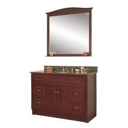 "JSI - JSI Concord Bathroom Vanity Set, Cherry, 48"" Cabinet Base, 4 Drawers, 36"" Mirror - PLEASE NOTE: Sale is for vanity cabinet and mirror only - Faucet, top, and sink are not included."