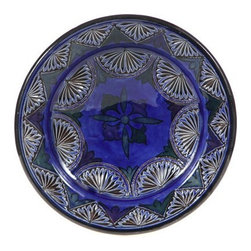 "Ceramic (Wood-fired) - Cobalt Carved Decorative Plate, 9"" - Cobalt Carved Decorative Plates from Morocco"