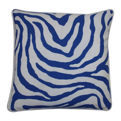 Blue Zebra Pillow - With white piping and an exotic pattern, our chic Square Blue Zebra Pillow will bring a sense of adventure to your sofa! Also available in lumbar size.