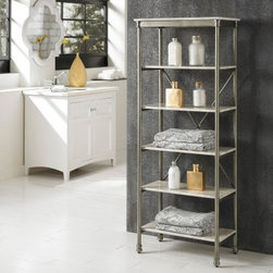 Home Styles The Orleans 6 Tier Shelf - The Home Styles The Orleans 6 Tier Shelf is a perfect addition to your master bathroom, providing ample space keeping lotions, linens, tissues, toiletries, and more. This stunning set of shelves takes its inspiration from classic French/Creole country designs. A sturdy powder-coated steel frame supports the piece, featuring six wide marble-laminate shelves. This beautiful piece pairs well with a multitude of decors, both traditional and contemporary. About Home StylesHome Styles is a manufacturer and distributor of RTA (ready to assemble) furniture perfectly suited to today's lifestyles. Blending attractive design with modern functionality, their furniture collections span many styles from timeless traditional to cutting-edge contemporary. The great difference between Home Styles and many other RTA furniture manufacturers is that Home Styles pieces feature hardwood construction and quality hardware that stand up to years of use. When shopping for convenient, durable items for the home, look to Home Styles. You'll appreciate the value.