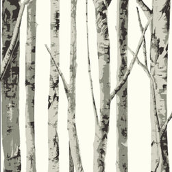 Seabrook - Graphic Birch Tree Wallpaper - This is a contemporary black and white birch tree wallpaper pattern.  It combines the outdoors with modern wall decor. Extremely popular among conservationists, Nature enthusiasts and people who have a fondness for Mother Nature. (EH61008, Seabrook ID# SBK14258)**This wallpaper only ships in double roll quantities.