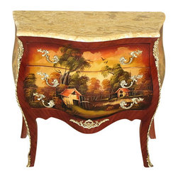 MBW Furniture - Hand Painted French Bombe Chest Commode w/ Marble Top - This is a beautiful hand painted French style reproduction bombe commode. It has a removable variegated marble top with a scalloped front and it features 3 drawers well operated with dovetail joinery that have beautiful ormolu handles. The front and sides are beautifully adorned with hand painted sceneries and it has very attractive ormolu mount and a scalloped skirt. It is a beautiful piece that will make a lovely addition to any room.
