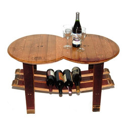 Napa East - Napa East Barrel Head Coffee Table Multicolor - 1009 - Shop for Tables from Hayneedle.com! Two wine barrel heads join together to make the beautiful top on the Napa East Barrel Head Coffee Table. With a base made from reclaimed oak wine barrel staves the authentic wine-lover s table features heads that still carry the original French cooperage stamps. It s functional too with a lower shelf that s ideal for holding bottles of your favorite wines.About Napa EastNapa East creates wine-inspired furnishings that are made from actual reclaimed oak wine barrels. Their barrels began life handcrafted with pride from the finest French and American Oaks and Napa East continues that theme when they hand-select barrels and giving them new life as beautiful one-of-a-kind works of art.